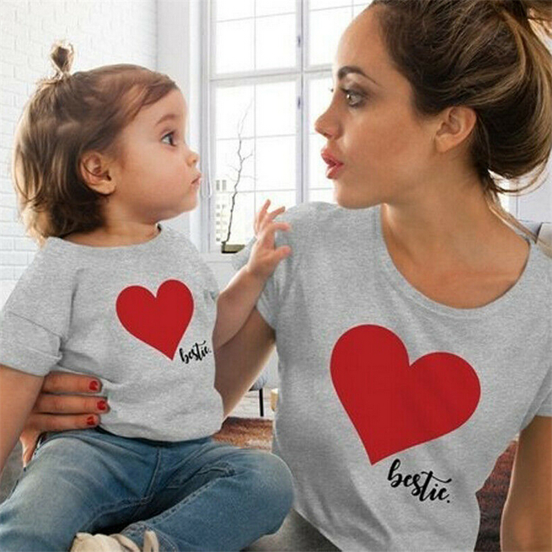 HTB1DVPsLY2pK1RjSZFsq6yNlXXaT Summer Mommy And Me Clothes Heart Print T Shirt Family Costumes Baby And Mom Matching Clothes Mommy Daughter Matching Outfits