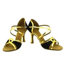 YOVE Dance Shoes Satin Latin/Salsa Dance Shoes Women's Color Contrast Open Toe Vintage 3.5″ Flare Heel w1610-29