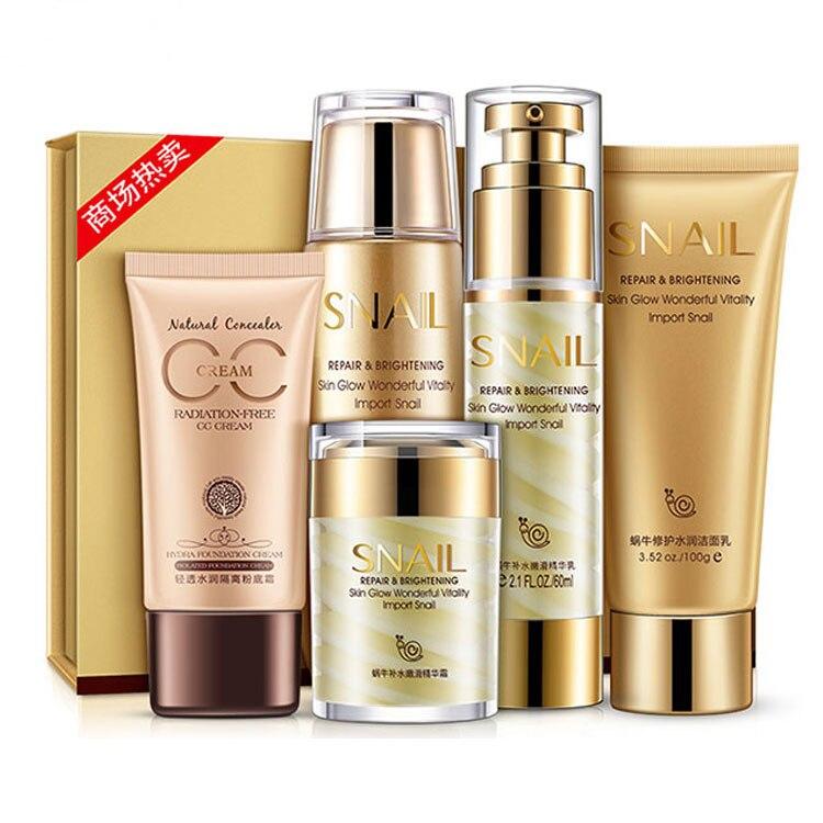 BIOAQUA Set de soin de la peau d'escargot nettoyant + Toner + Lotion + crème pour le visage + crème CC + kit de soin du visage nutritif reraffermissant et humide