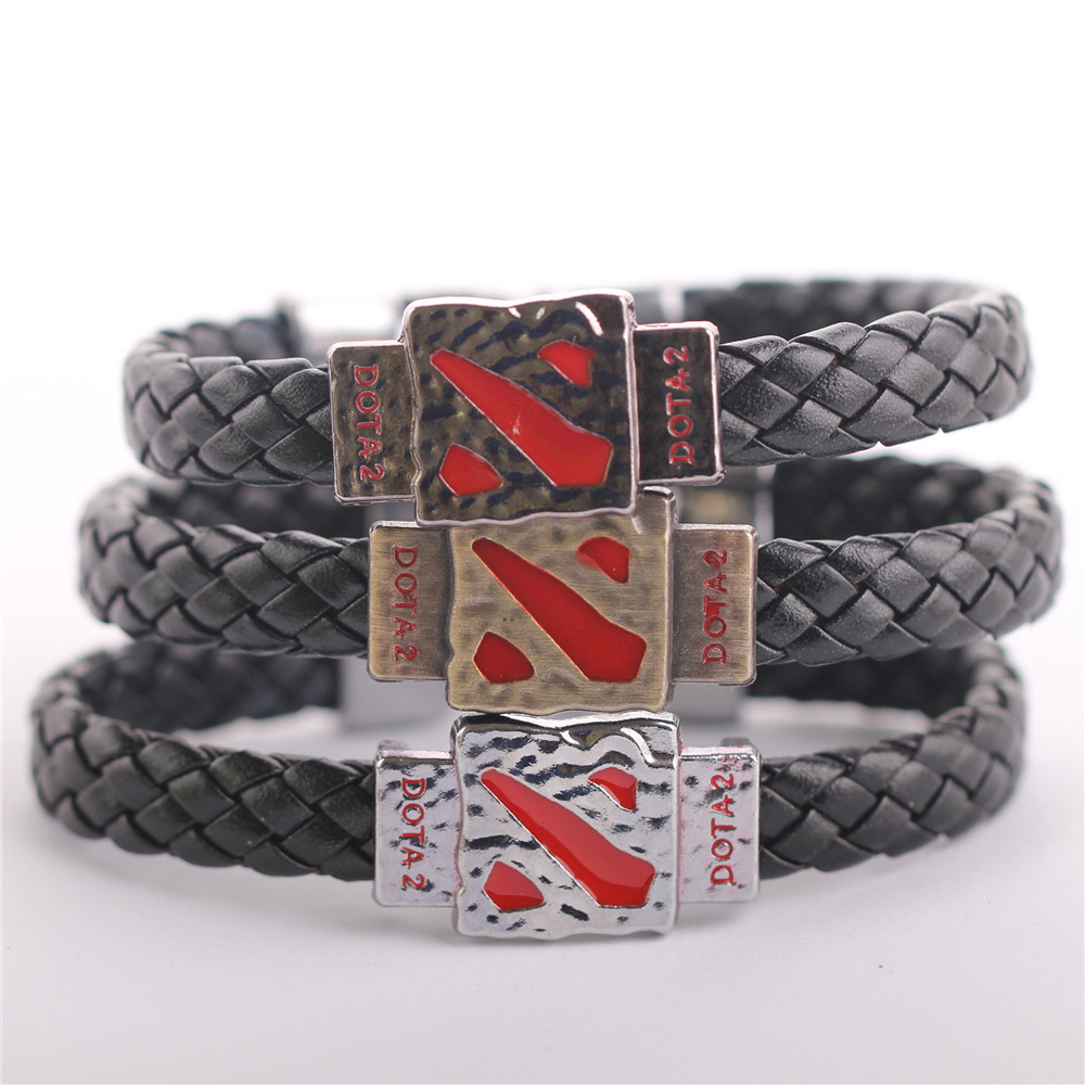WSB007 Metal Dotas 2 Game Leather Bracelet Men Men Jewelry Boy Gift Cosplay Bangles Leather Braided Wristband in Bangles from Jewelry Accessories