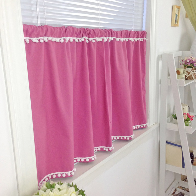 Elegant Small pompon tassel lace red beautiful curtain short curtain ...