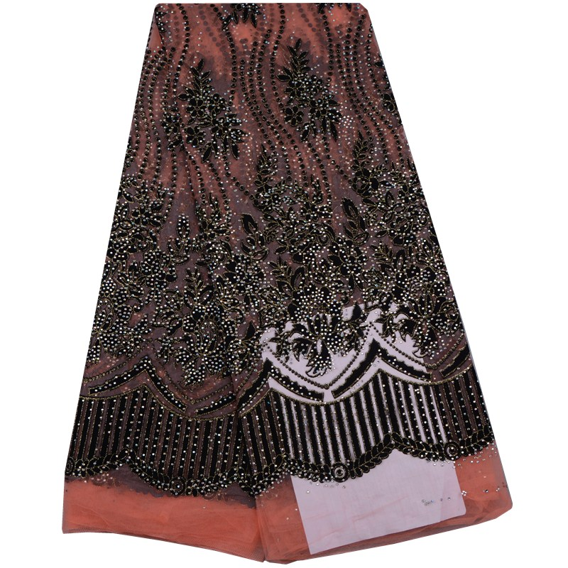 High Quality Nigerian Lace Fabrics 2017 With Plenty Stones African French Net Lace Fabric Embroidered Tulle