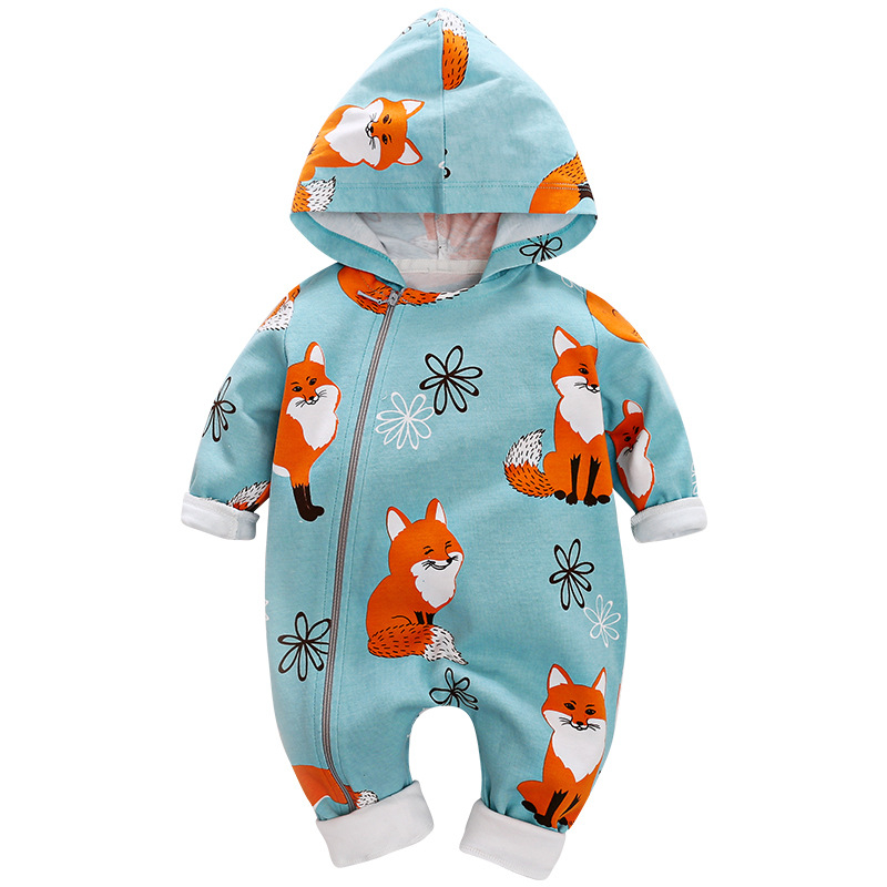 Newborn Baby Boys clothes Long Sleeves Hooded Fox Print   Romper   infant Jumpsuit Kids Clothing spring autumn cotton   romper
