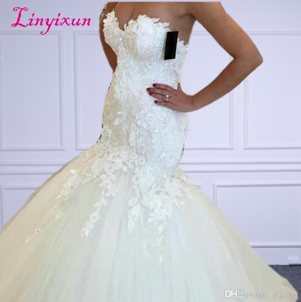 Linyixun горячая распродажа новые кружевные свадебные платья русалки 2018 аппликации вырез сердечком платья для невесты элегантные свадебные пл