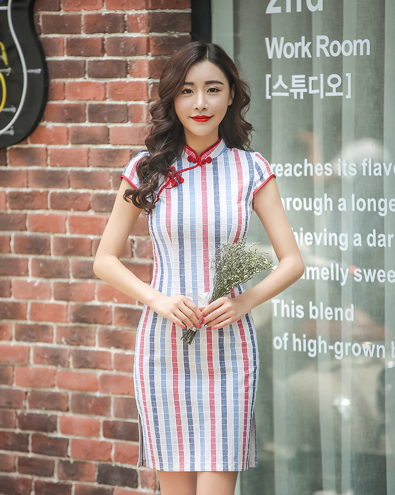 Hot Traditional Chinese Dress Colorful Stripe Cheongsam Cotton ...