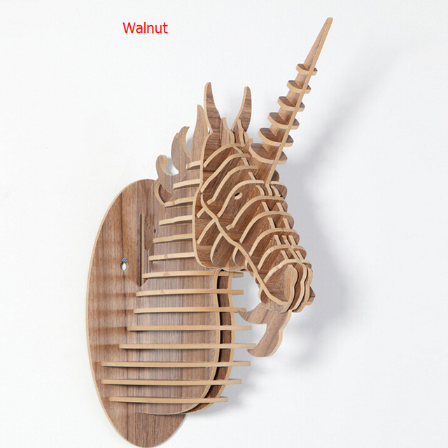 Diy Novelty Items Craft Wooden Unicorn Head Ornament Home Decor Simple Modern Carved 3d Wood Animal
