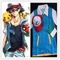 Pokemon Ash Ketchum Тренер Костюма Cosplay Куртка + Перчатки + Шляпа Ash Ketchum Костюм Бесплатная Доставка Суперзвезда Города