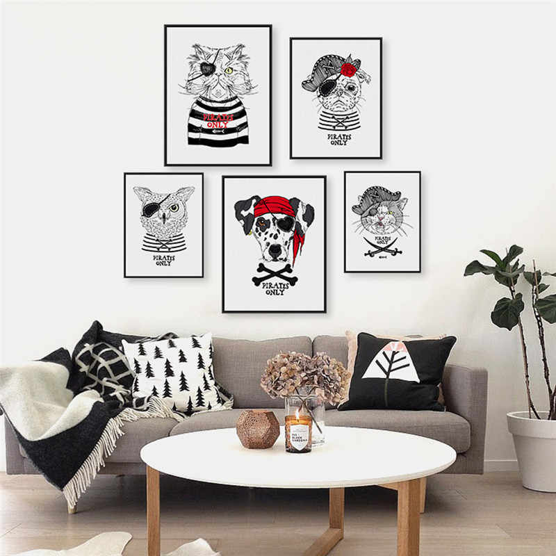 Animal Home Decor Nordic Painting Wall Art DIY Pirate Black White Dog Cat Print Office Bedroom Hotel Backdrop Personalize Supply