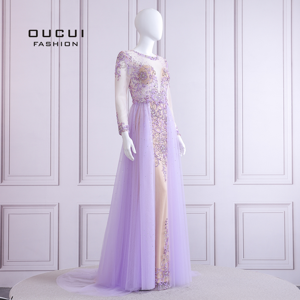 Image 3 - 2019 Elegant Lilac Evening Dress Long Sleeve V Neck Sexy Illusion Beaded Crystal  Court Train Robe De Soiree Plus Size OL103090BEvening Dresses   -