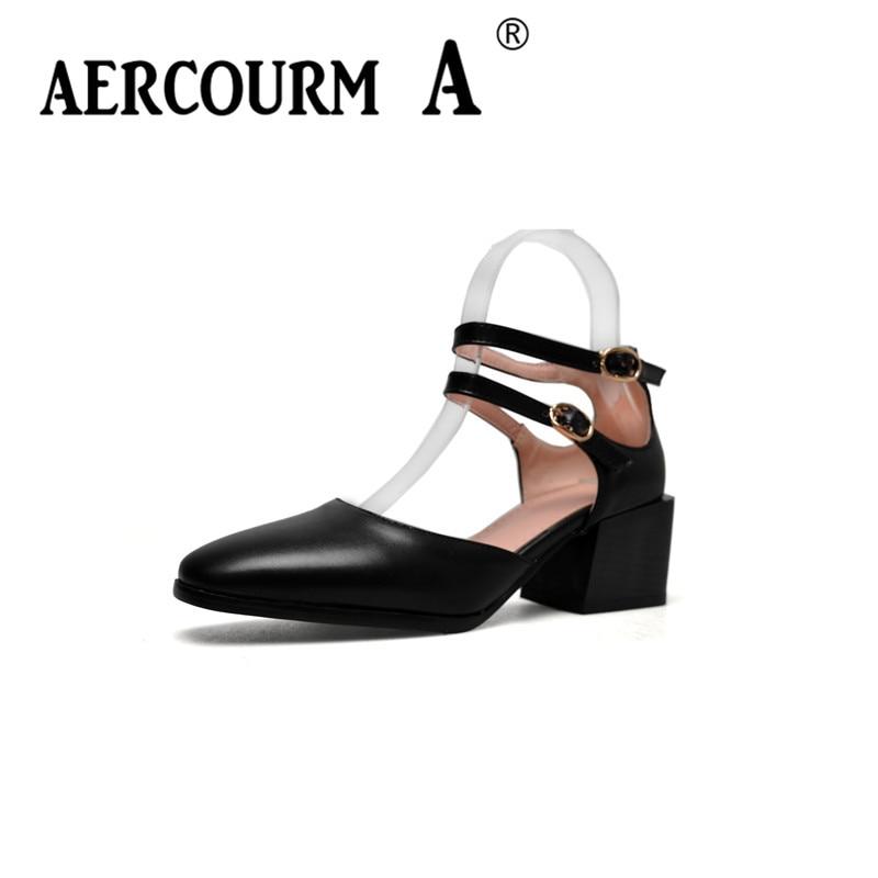 Aercourm A Women Round Toe Pumps 2018 Women Black Shoes Lady Solid Shoes Square Heel Women Brown Apricot Black Dress Pumps Shoes