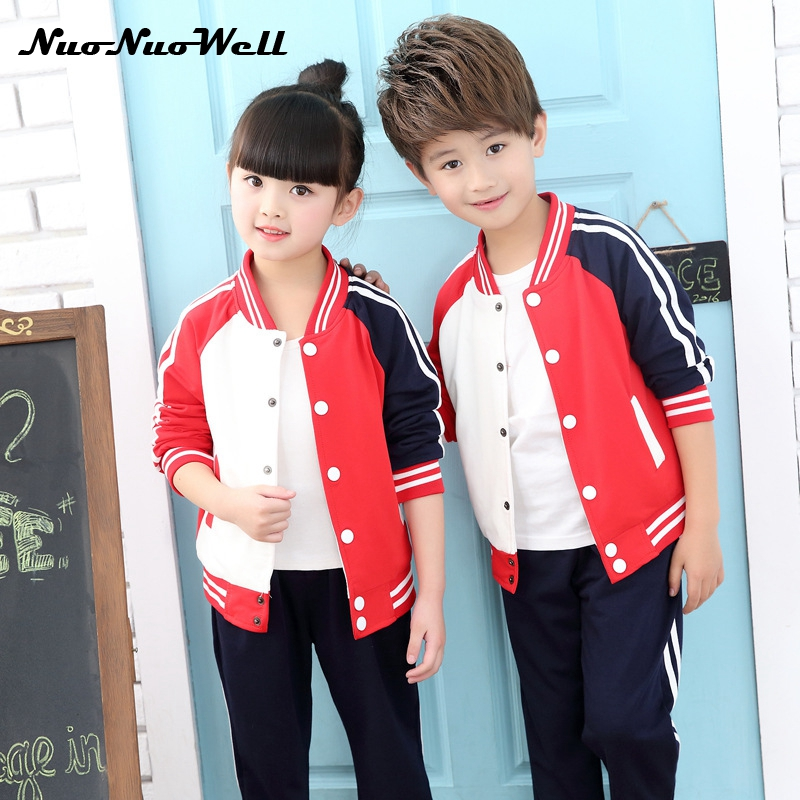 NNW Autumn Spring Teenager Girls Boys 2pcs Children Clothing Sets 3-15 Years Kids Coar+Pants/Pantskirt School Uniform Tracksuit