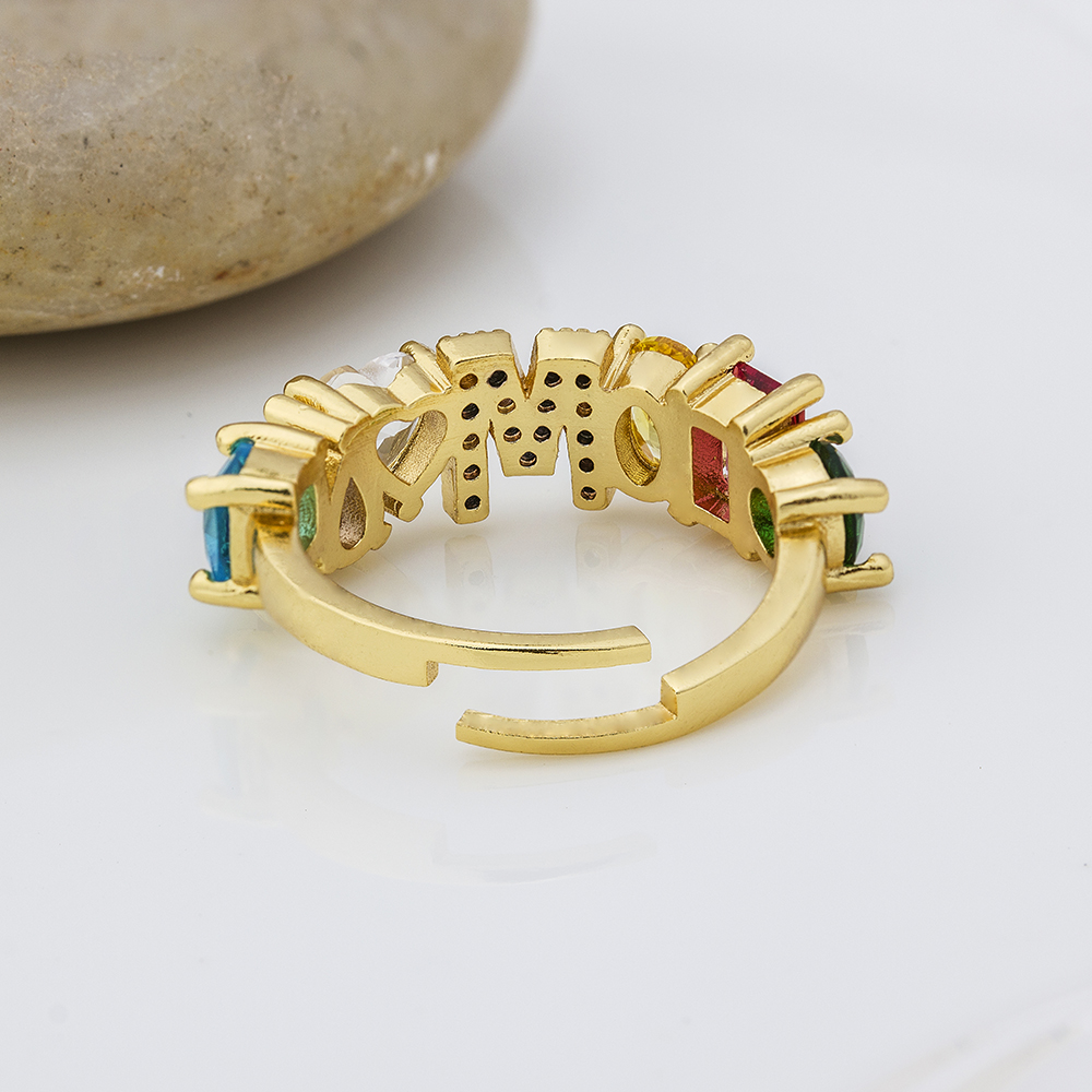 Hot Sale Adjustable A-Z Initial Ring Bohemian Copper Zircon  Rainbow Letter Rings for Women Girls Party Wedding Jewelry Gift 6