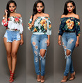 2017 Fashion Sexy Off Should Women Blouses  Polyester Digital Floral Print Blouses Women Summer Short Clothing Blusas Feminino