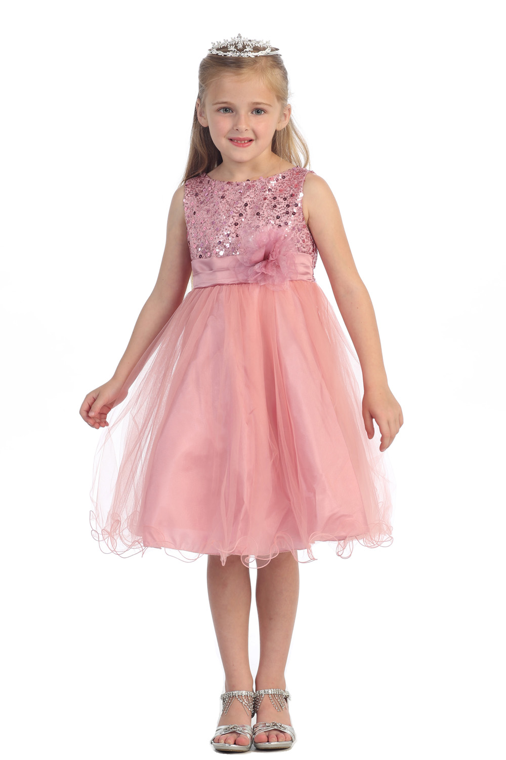 Flower Girls Dresses For Wedding Gowns Sequin Girl Birthday Party Dress Knee-Length Kids Prom Dresses Mother Daughter Dresses new white ivory nice spaghetti straps sequined knee length a line flower girl dress beautiful square collar birthday party gowns