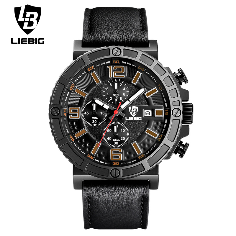 LIEBIG 1016 Men Quartz Wristwatches Military Commander Series Sport Watch Comfortable Strap Blue Relogio Masculino Date