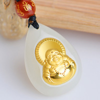 High quality gold inlaid jades Maitreya Buddha pendant necklace for men and women laughing Buddha pendant jades pendant