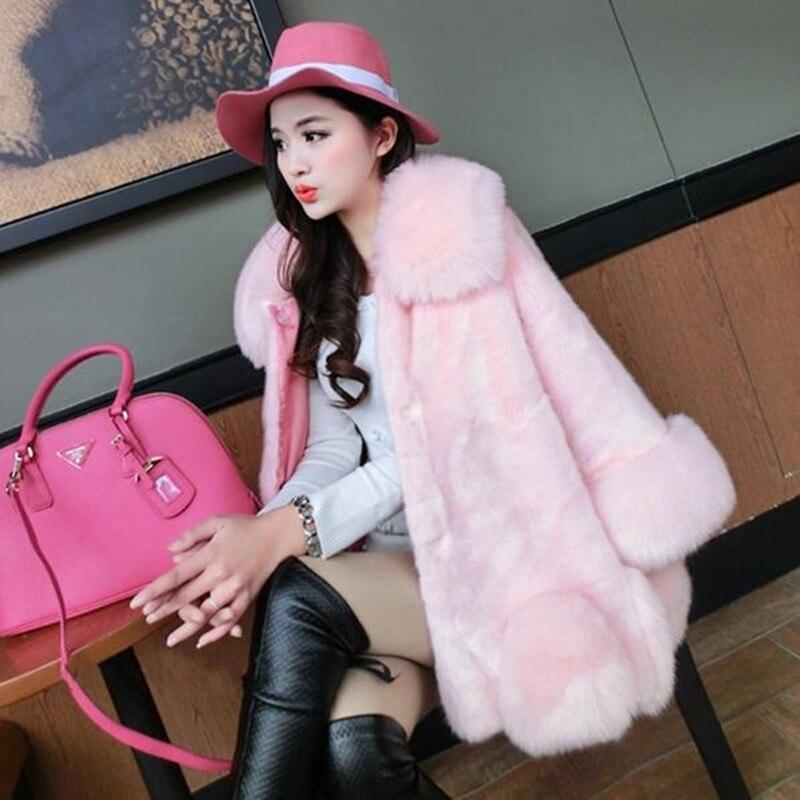Rosa Pelliccia colore gray Volpe Delle 2019 Donne Elegante Abbigliamento Imitazione Ed Splicing Moda il Inverno Bianco Cappotti Giacca Nuove Alla Nero Di ZwRqY1xTp