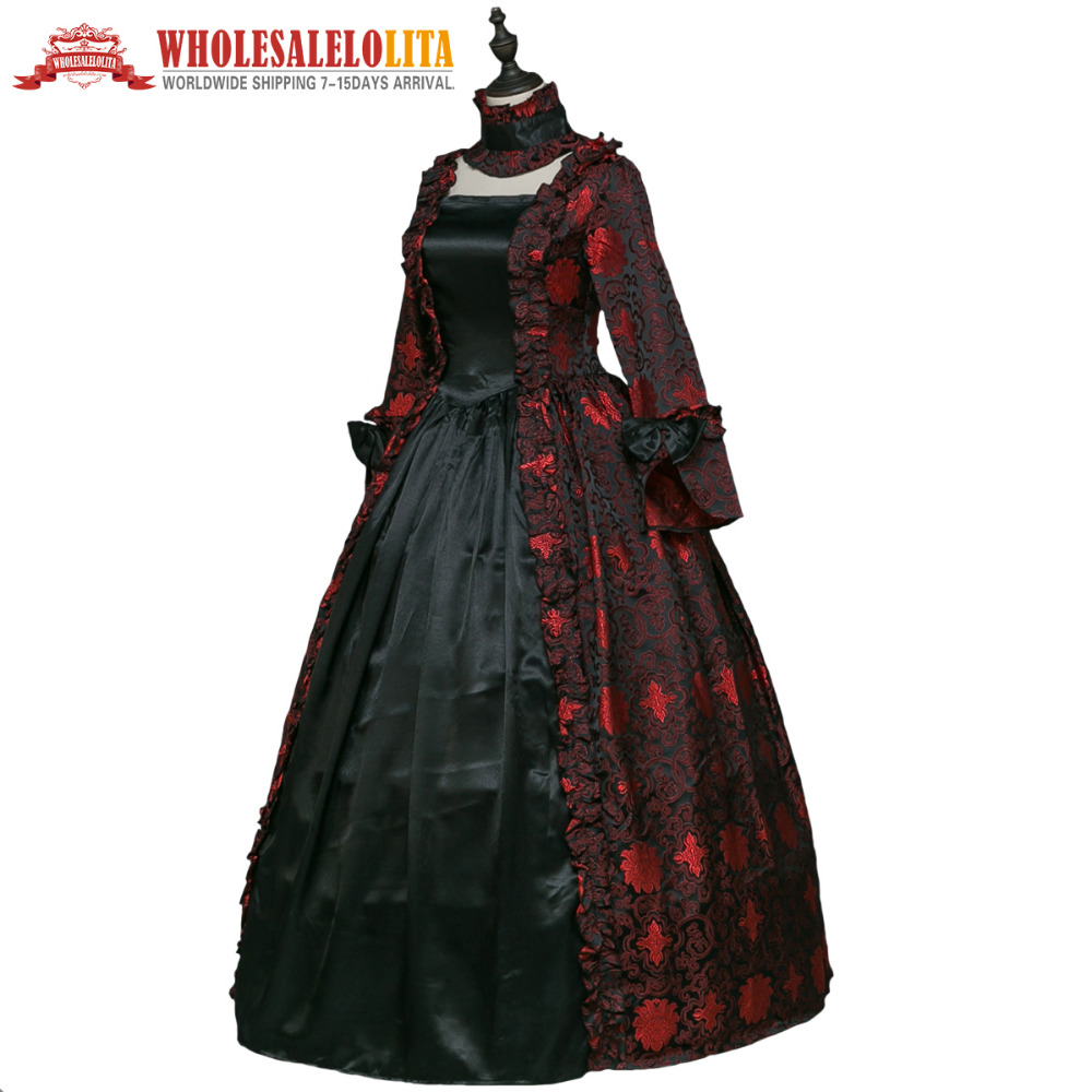 gothic period medieval dresses renaissance brocade dress gown steampunk vampire women halloween costume in movie tv costumes from novelty special use
