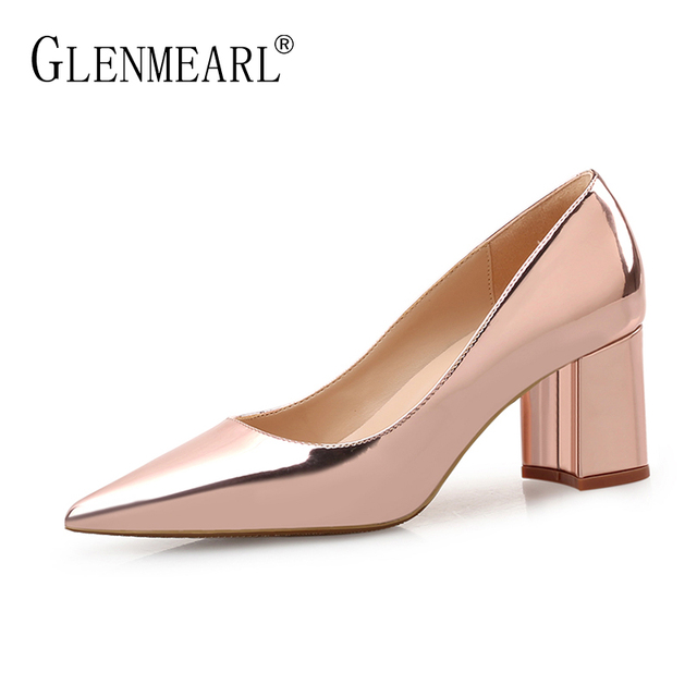 High Heels Shoes Women Pumps Patent leather Spring Single Woman Dress Shoes Spring Thick Heels Pointed Toe Leopard Female Pumps