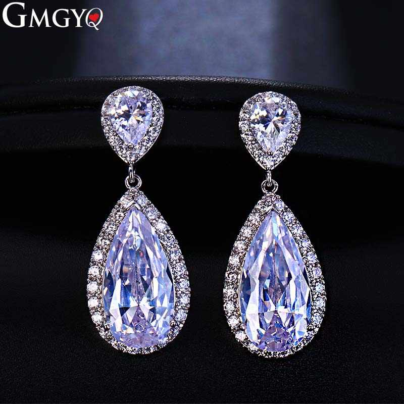 GMGYQ Fashion Classic Wwater Drop Zirconia Earrings Bride's Wedding Jewelry Wholesale Earrings Women's Accessories Gifts