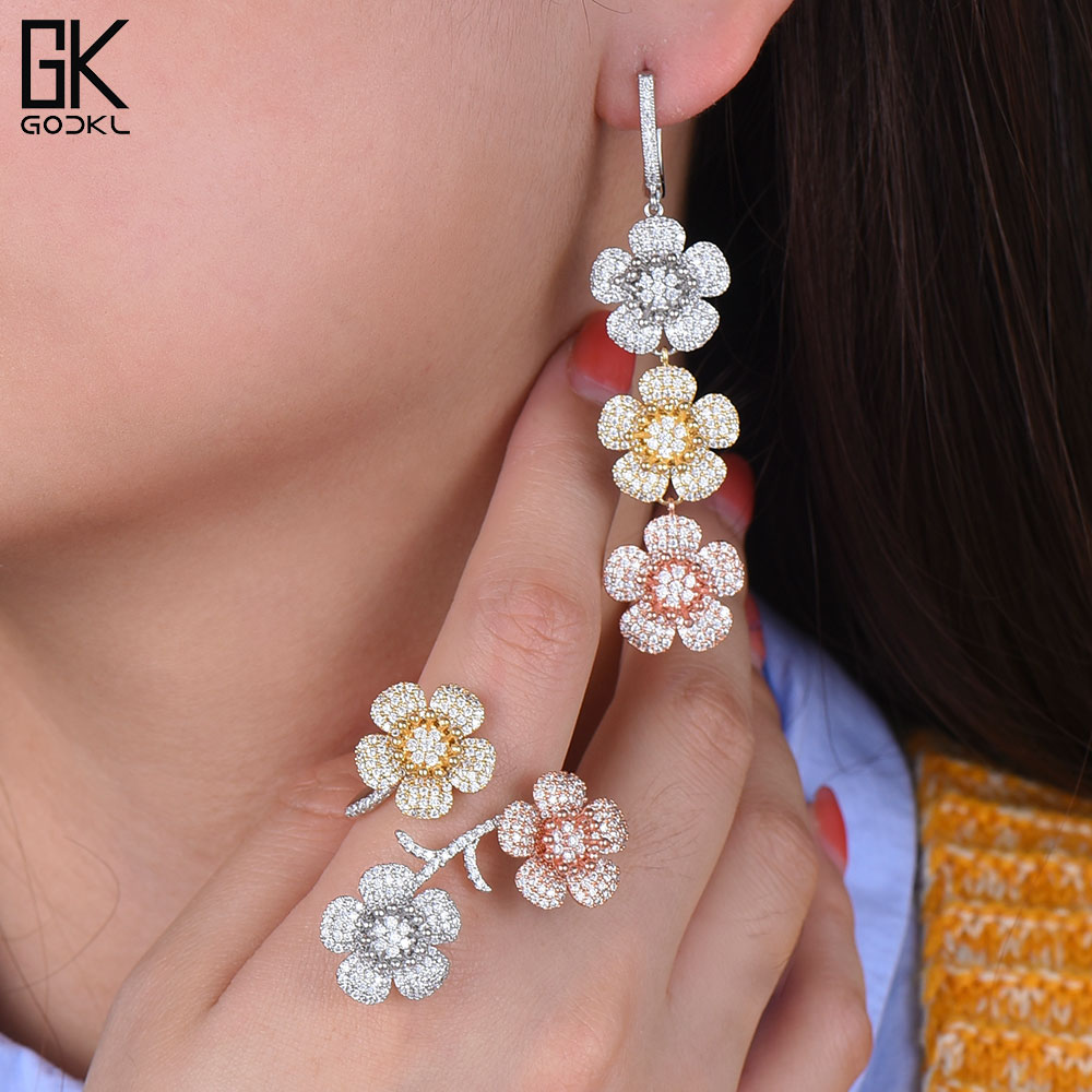 GODKI Trendy Luxury Tricolor Cubic Zirconia Crystal CZ Engagement Earrings Ring Sets For Women Wedding DUBAI Bridal Jewelry Sets