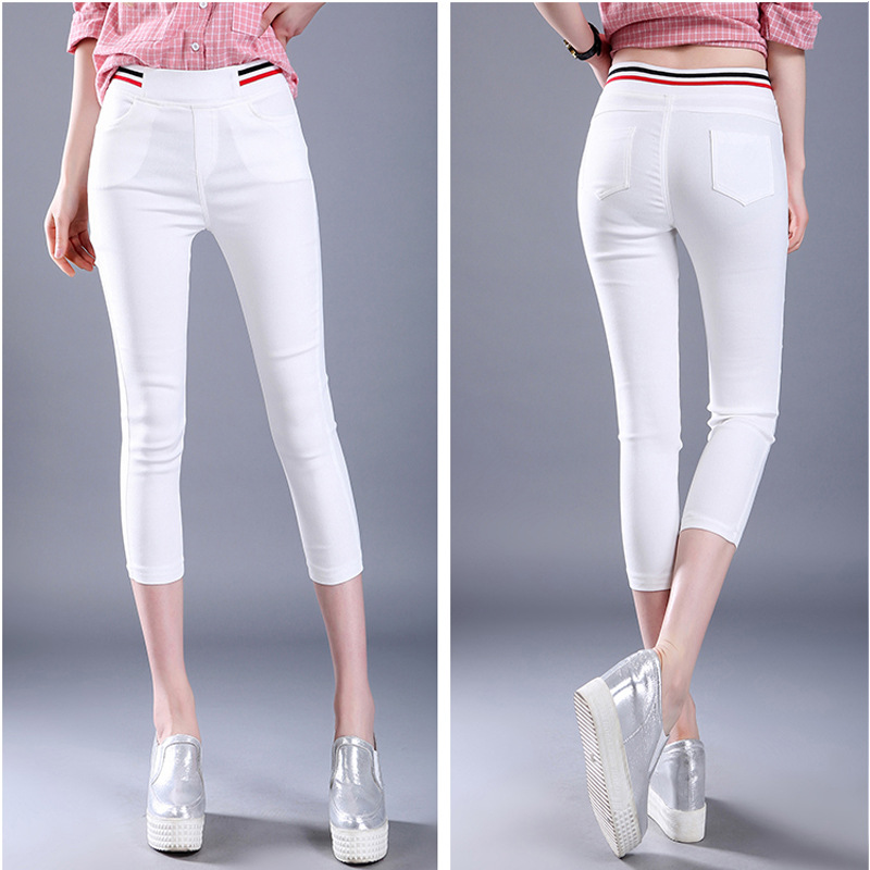 WKOUD High Waist Pencil   Pants   Skinny Black   Capris   Summer Calf-length Stretch   Pants   Women's Casual Thin Trousers Plus Size P9022