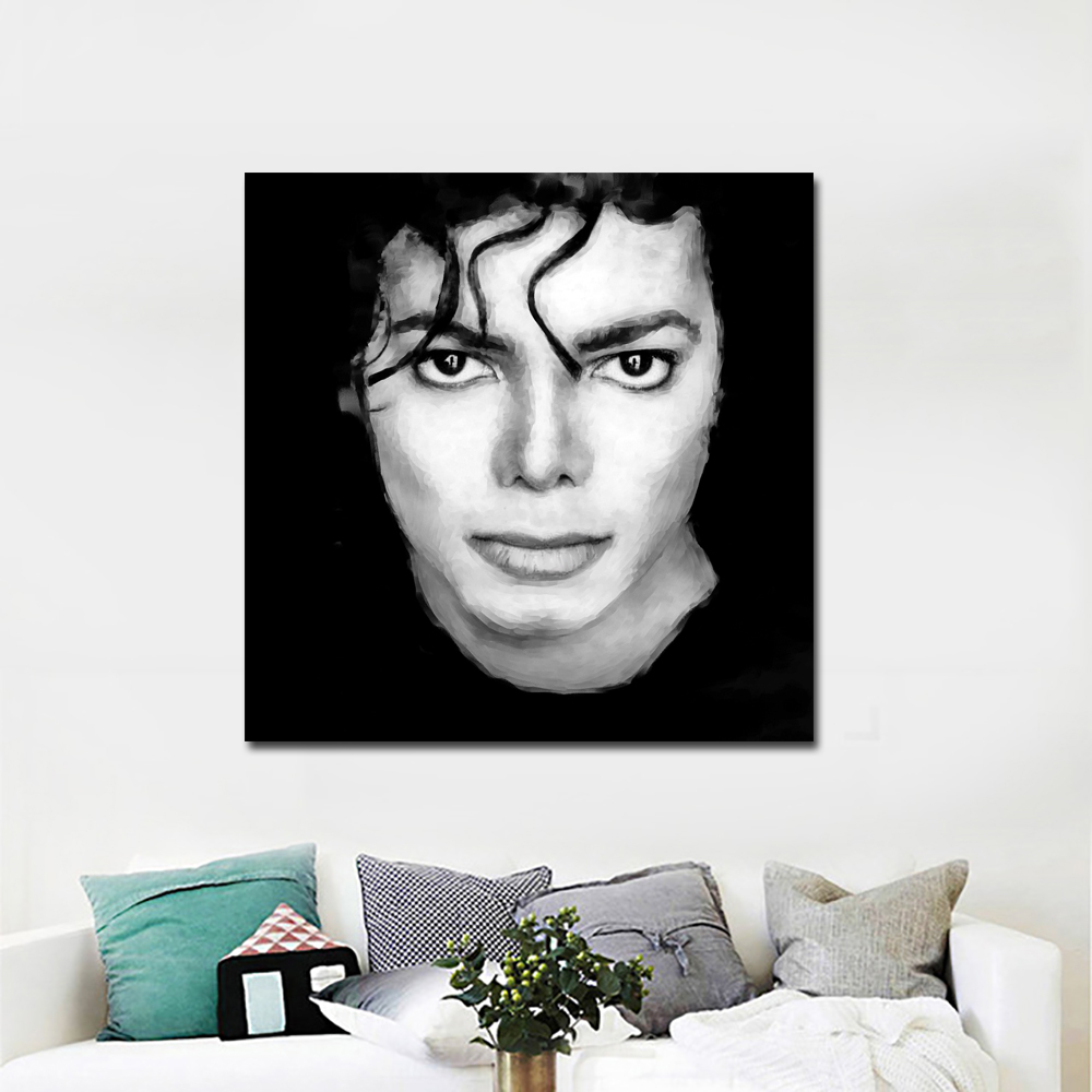 Black and white portrait painting michael jackson poster print canvas painting for bedroomboys room canvas printed unframed in painting calligraphy from