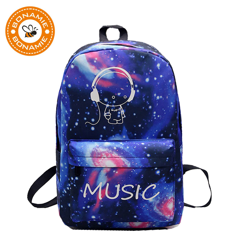 BONAMIE Night Light Cool Ryggsäck Musik Boy Ryggsäckar Luminous School Bags För Tonårsflickor Boys Book Bag Starry Sky Backpack
