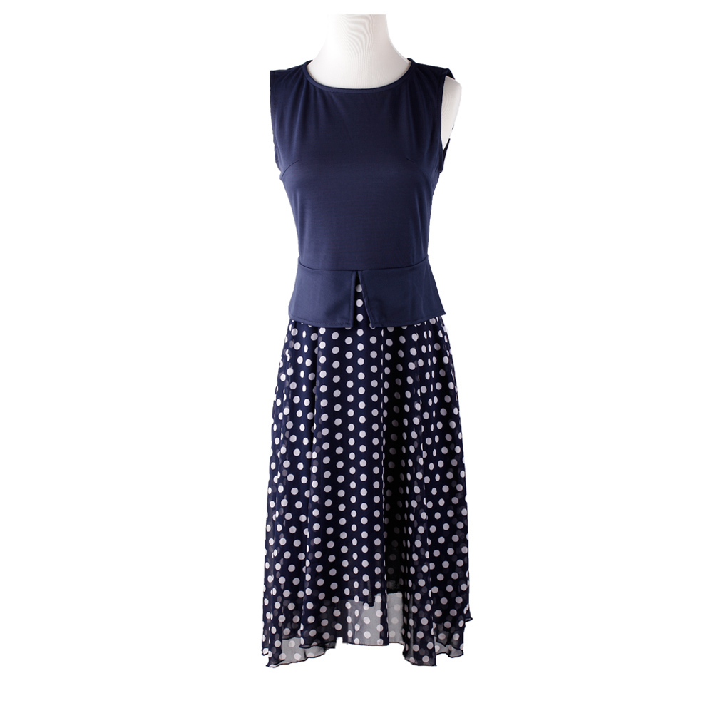 2941eed8f37 Summer Dress 2018 Dark Blue Polka Dot Dresses Garment Women Casual Dress  Print Chiffon Vestidos Ladies Elegant Ladies Wear-in Dresses from Women s  Clothing ...