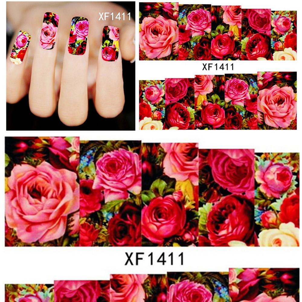 1sheets Hot Designs Fashion Charm Flower Colorful 3d Designs Tips Nail Art Stickers Water Transfer  XF1381-XF1411