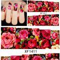 2017 Manicure cortador de Unhas 2 folhas Designs Hot Moda Charme Flor Colorida 3d Dicas Da Arte Do Prego Adesivos de Transferência de Água Xf1381-xf1411