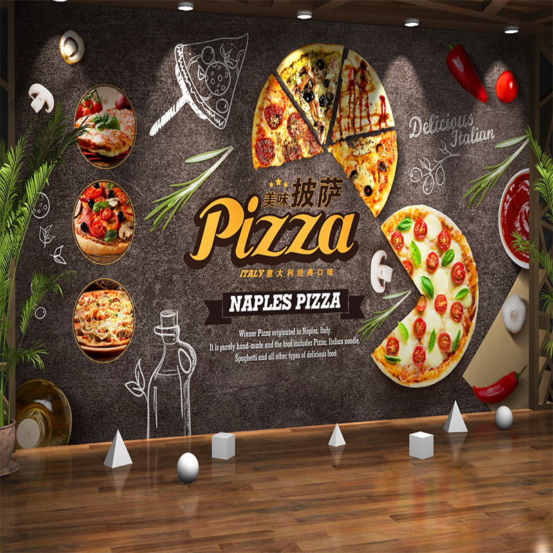 Customize Any Size Creative Atmosphere Food Cartoon Pizza Mural Wallpaper Cafe Restaurant Background Decorative Mural Paper 3d