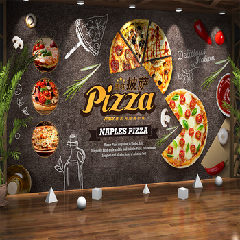 Customize Any Size Creative Atmosphere Food Cartoon Pizza Mural Wallpaper Cafe Restaurant Background Decorative Mural Paper 3d цена 2017