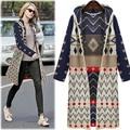 El envío Libre 2016 Otoño invierno ropa de abrigo suéter femenino de Europa y América loose cardigan sweater largo con capucha
