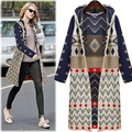Free Shipping 2016 Autumn winter clothes sweater coat European and American female loose cardigan sweater long hooded