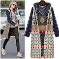 O Envio gratuito de 2016 Outono inverno roupas camisola casaco feminino Europeu e Americano solto cardigan camisola longa com capuz