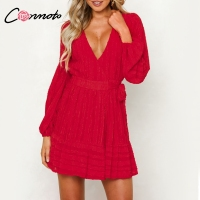 Conmoto Casual Vintage Sexy Party Dress Women Short Chiffon Wrap Casual Dresses Short Red Bow Long Sleeve Dress Elegant Vestidos