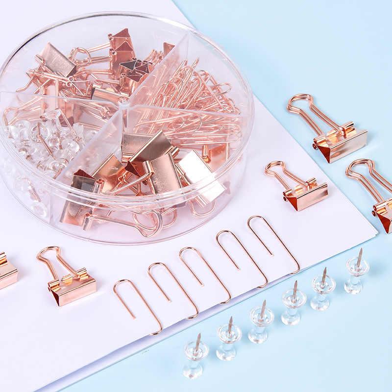 72/25/160/caja de oro rosa Clip de Metal de cabeza grande Clips de encuadernación de oficina suministros de combinación conjunto Delicado papelería