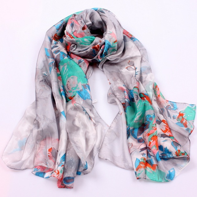 2016 Top Grade 100% Pure Silk Women Coffee Yellow Long Scarf Brand Autumn And Winter Floral Pattern Silk Scarf Printed 180*110cm