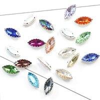 7 15mm Horse Eye Colorful Crystal Sew On Rhinestone Crystal Glass Leaf Sew  On Lace 6dee66357007
