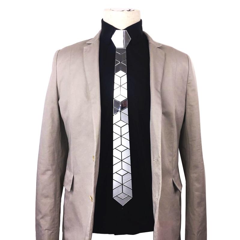 Fashion Slim Mirror Necktie Men Wedding Party Costume Night Club Accessory Silver Diamond Plaid Acrylic Silk Ties Blazers Outfit