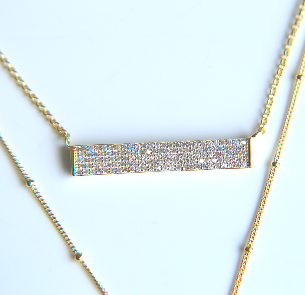 Guarantee 100% 925 sterling silver gold color micro pave clear cz sparking multi layer necklaces for women