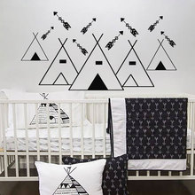 Tribal Teepee Arrow Wall Sticker Vinyl Home Decor For Kids babys Room Nursery Geometric Cartoon Decals Removable Murals 3561 цена