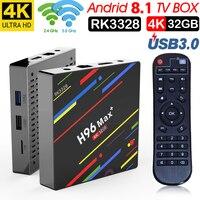 H96 MAX plus Android 8.1 TV box Rockchip RK3328 4 GB RAM 32 GB 64 GB apoyo H.265 UHD wifi BT 4 K H.265 set top box Media Player