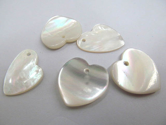 top quality 16mm 12pcs handmade genuine natural shell MOP jewellry bead heart florial teardrop focal ring