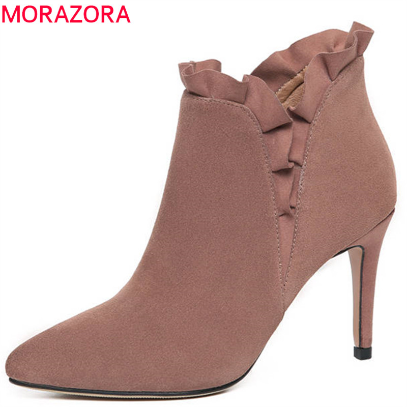 MORAZORA 2018 new fashion shoes woman suede leather ankle boots pointed toe autumn winter slip on party high heels boots women women fashion ankle boots top quality suede autumn slip on pointed toe flats punk suede biker boots ladies shoes wholesales