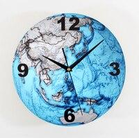 Wall clock beautiful blue earth Solid earthMap of fashion creative art wall clock bell wall world