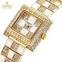 Femmes robe montres célèbre marque kingsky visage carré conception plein diamant quartz montre de mode lady montres 2017 nouveau