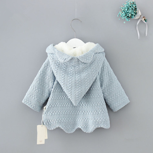 2018 Winter Hooded Children Clothes Girls Jackets Cardigan Baby kids Infants  Coat Velvet Warm Horn buckle Outwear 0-2Y