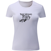 Reel Women Fish Graphic Short Sleeve Funny T Shirt Women Red White Gray Yellow Tops Casual Girl's Ladies T-shirt Plus Size S-2XL